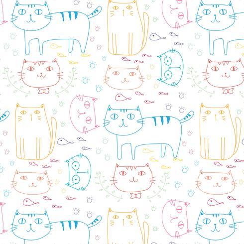 Fundo tirado mão do teste padrão do vetor dos gatos. Doodle engraçado. Ilustração vetorial artesanal.