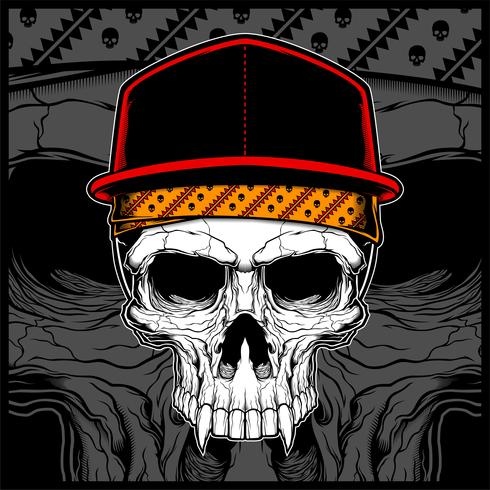 cráneo vistiendo gorra y bandana vector