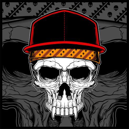 skull wearing cap and bandana vector