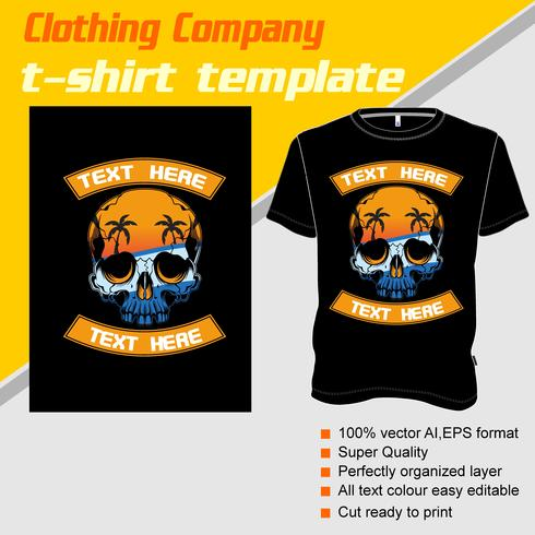 Modelo de camiseta, totalmente editável com vetor de verão crânio