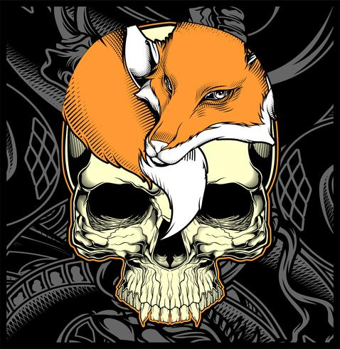Vector de dibujo de cabeza cráneo y zorro mano
