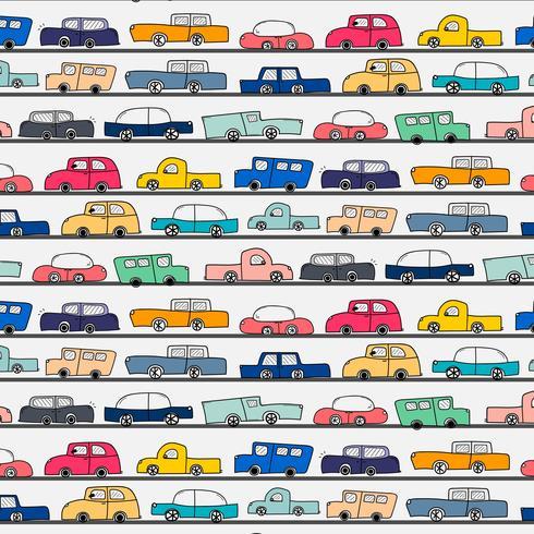 Patroon met de hand getekende Doodle Cars achtergrond. Vector illustratie.