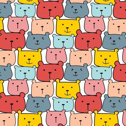 Fondo lindo del modelo del vector de los osos. Doodle de la diversión. Ilustración vectorial hecha a mano