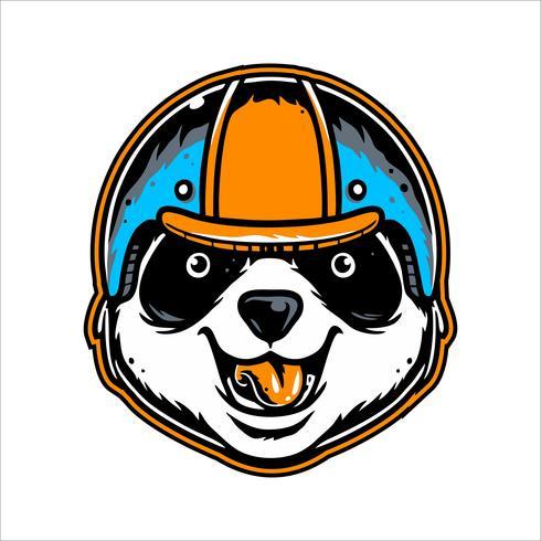 Kopf Panda mit Helm Handzeichnung Vektor