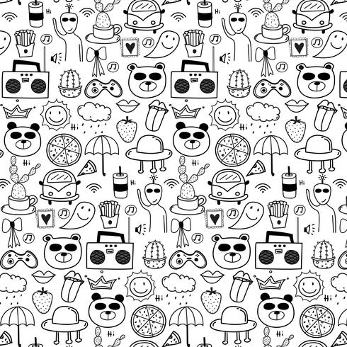 Pattern With Line Hand Drawn Doodle Lovely Background. Doodle Funny. Handmade Vector Illustration.