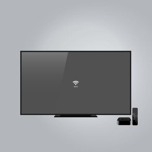 Wide screen black television, apple TV set isolated on gray background