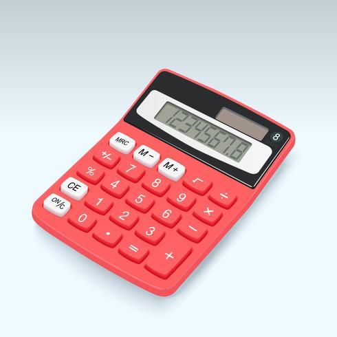 Icono rojo realista del vector de la calculadora aislado en el fondo blanco