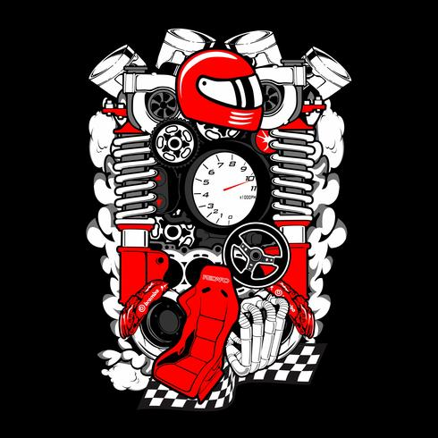 Peça de reposição de motor de carro e auto e desenho vetorial