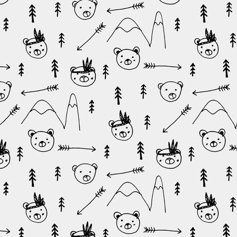 Hand Drawn Cute Bear Tribal Pattern Background. Vector Illustration.