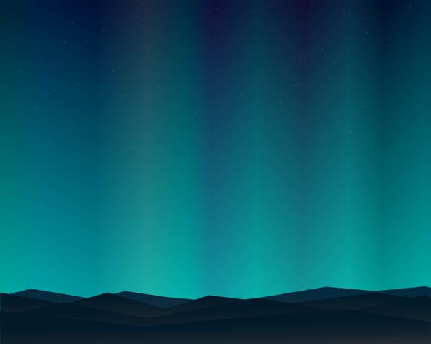 Mountain Northern Landscape Night With Aurora Stars Sky Background. vector