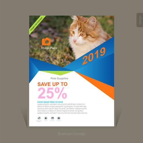 Modèle de brochure d'entreprise fournit des animaux domestiques colorés - Illustration vectorielle
