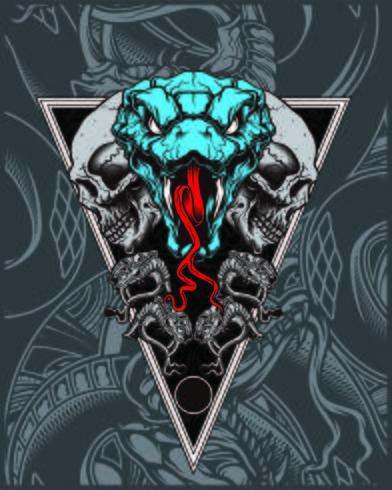 cranio con il vettore del disegno della mano del serpente