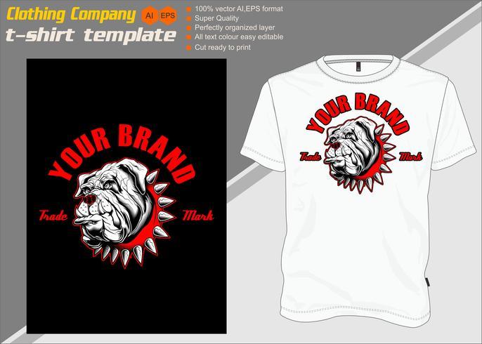 T-shirt mall, helt redigerbar med hund vektor