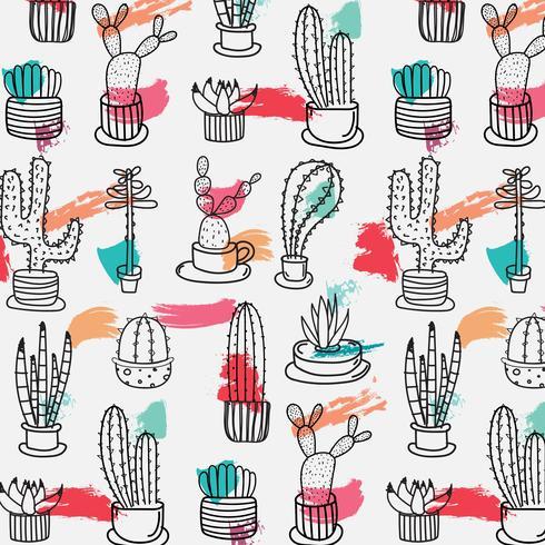 Dibujado a mano patrón de cactus tropical. Hecho a mano ilustración vectorial