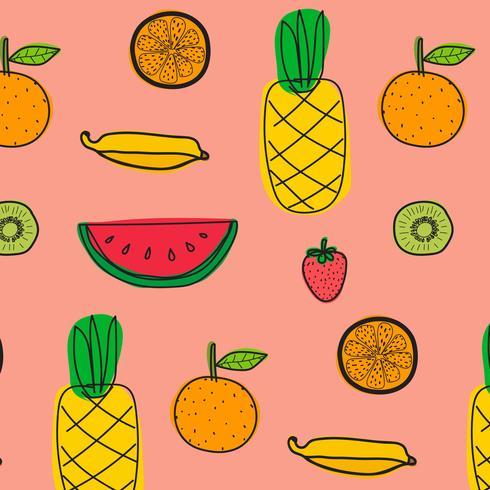 De Fondo Con Patrón De Frutas. Dibujado a mano ilustración vectorial