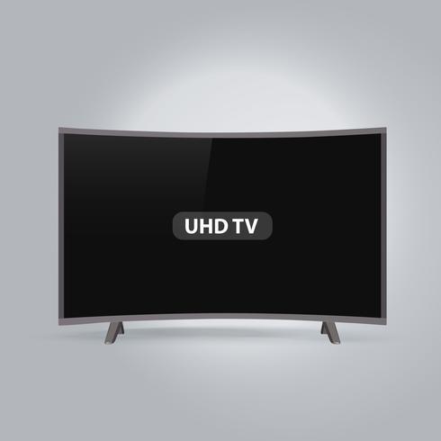 Serie de TV UHD LED elegante curvada aislada sobre fondo gris