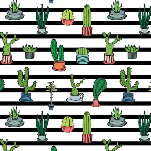Hand Drawn Tropical Cactus Pattern. Hand Made Vector Illustration.