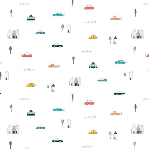 Pattern With Abstract Home Car And Tree Design Elements. Handmade Vector Illustration Background.