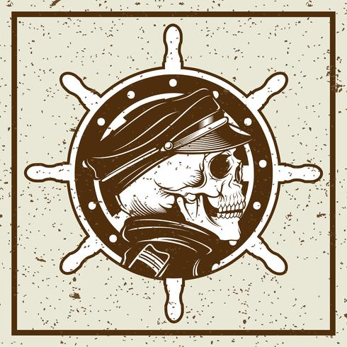 grunge style skulls captain and ship's wheel vintage illustration vector