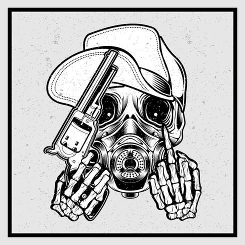 crâne de style grunge coiffé d'un chapeau tenant un pistolet et doigt fuck-vector