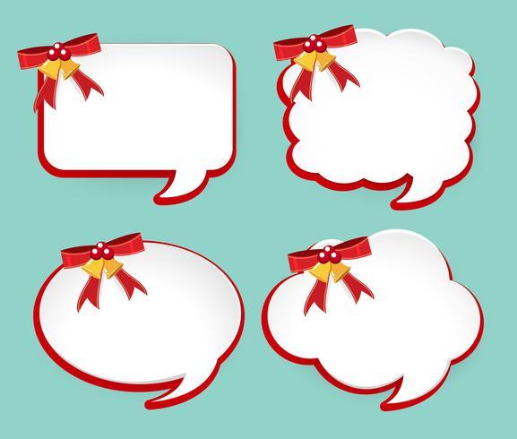 Cuatro etiquetas con cintas rojas y campanas.