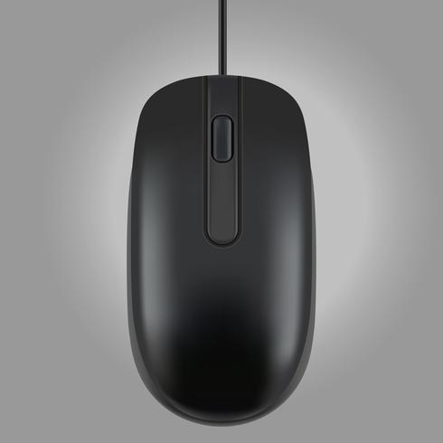 Rato preto isolado no fundo cinza, ilustração vetorial