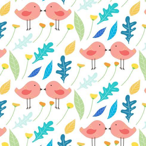 Hand gezeichneter Blumen- und netter Vogel-Muster-Hintergrund. Vektor-Illustration.