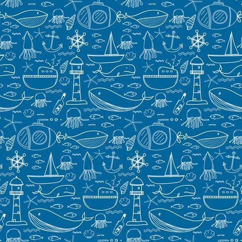 Hand getrokken patroon met zee achtergrond. Vector illustratie.