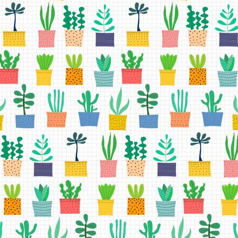Dibujado a mano patrón de cactus tropical. Ilustración vectorial de fondo