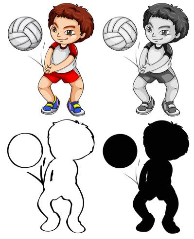 Set of volleyball player