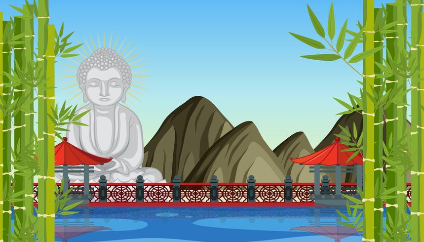 Buddha statue in chinese temple vector