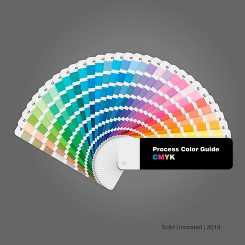 Ilustração do guia sólido da paleta de cores do processo cmyk sem revestimento para impressão e design vetor