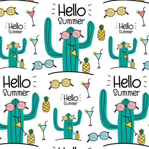 Hola verano vector patrón de fondo. Ilustracion vectorial