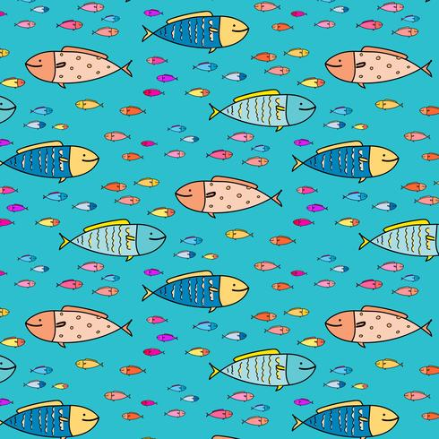 Hand Drawn Abstract Fish Pattern Background. Vector Illustration.