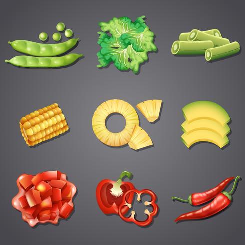 Ensemble de fruits et légumes différents