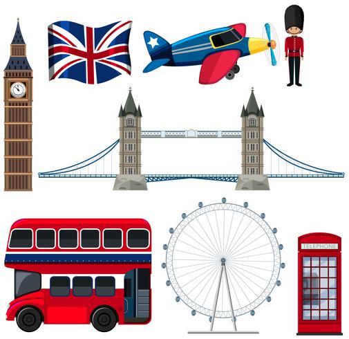 Un conjunto de elementos turísticos de Inglaterra. vector