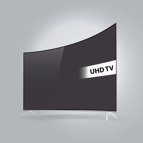 Böjd smart LED-TV-serie isolerad på grå bakgrund