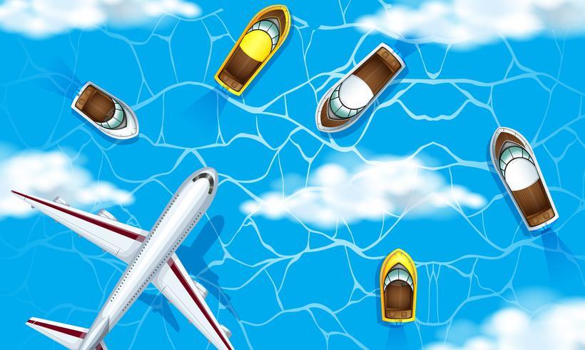Vista aérea do oceano