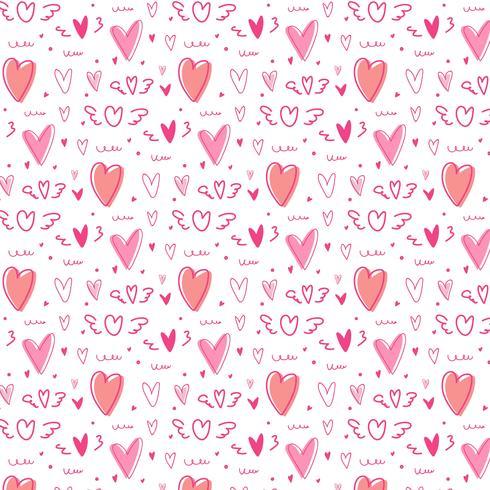 Hand drawn cute heart pattern background.