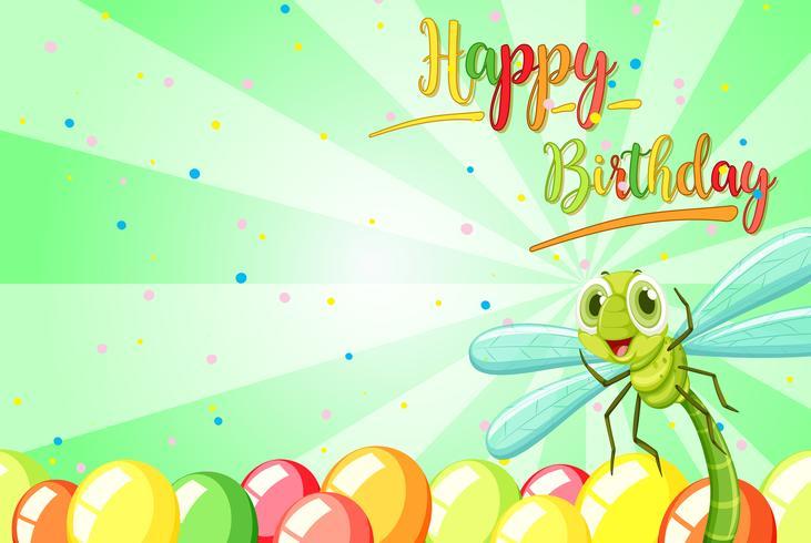 Insect op verjaardagssjabloon