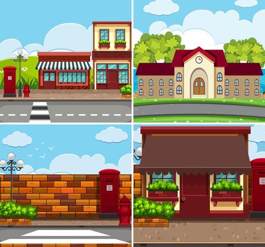 Fyra bakgrundsscenarier med byggnader och vägar
