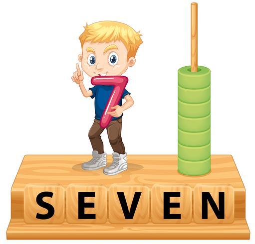 Ein Junge mit der Nummer sieben
