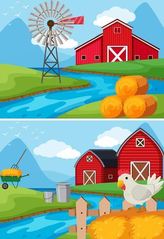 Twee scènes van boerderij langs de rivier