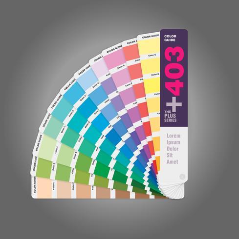 Ilustración de la guía de la paleta de colores para impresión offset y guía para el diseñador web vector