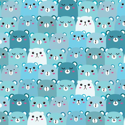 Hand Drawn Bears Vector Pattern Background. Fun Doodle.