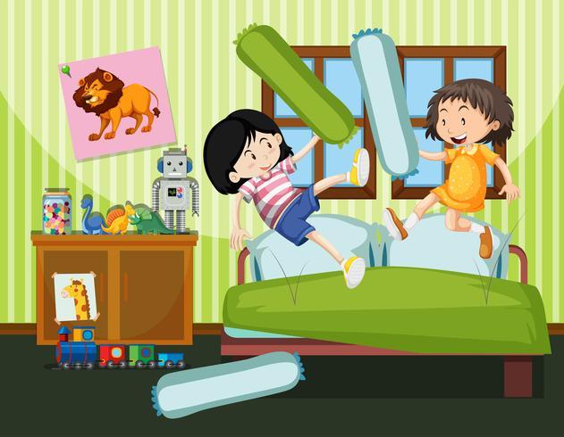 deux filles ayant une bataille d'oreillers vecteur