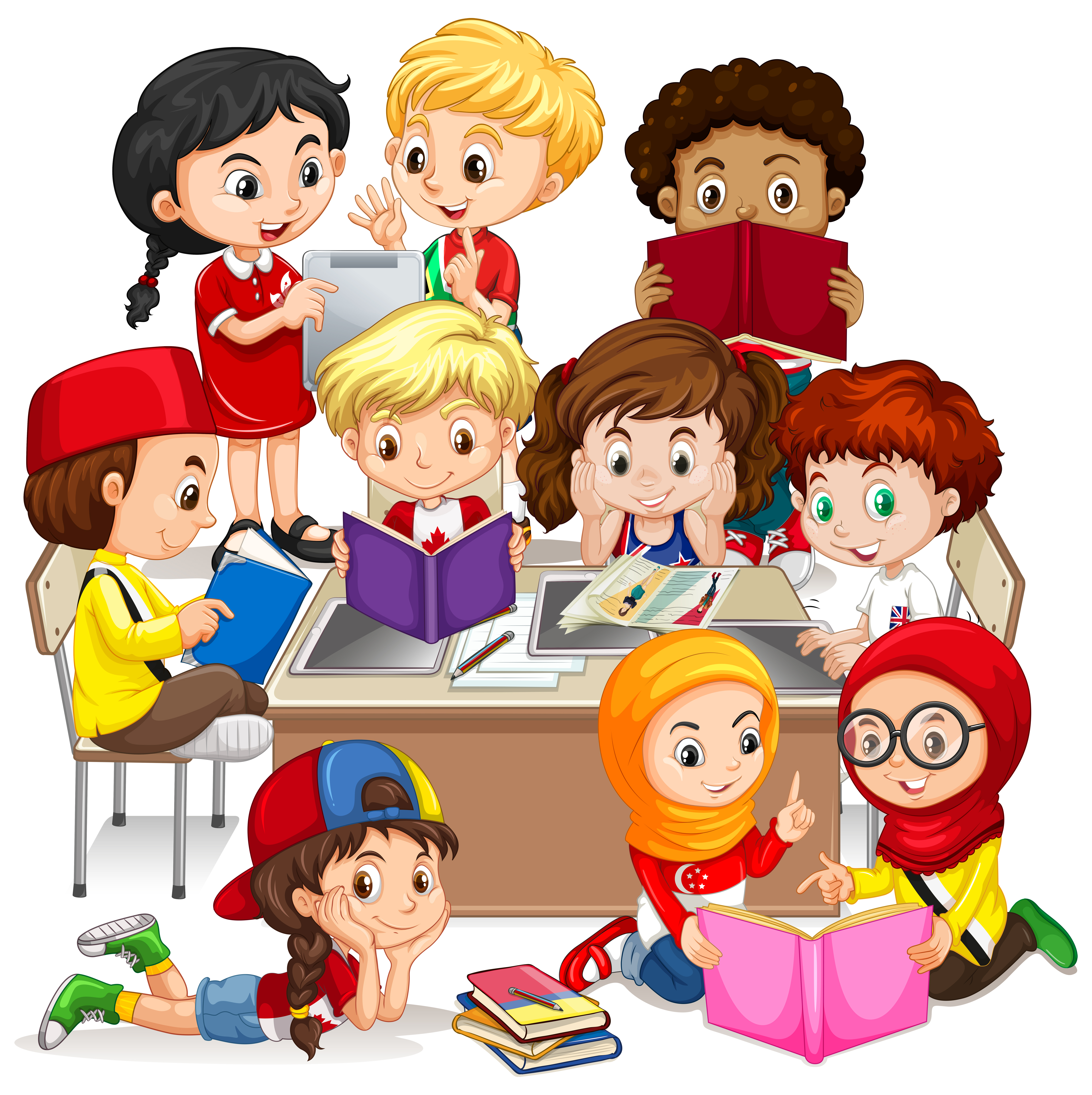 Group of international children learning - Download Free ...