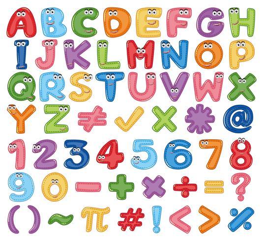 Buntes englisches Alphabet und Zahl