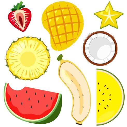Een set fruit gesneden half