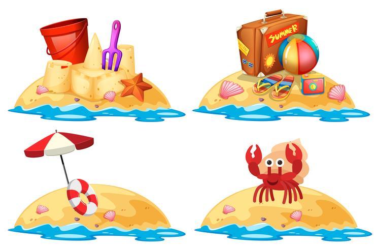 Ensemble de petites îles de sable